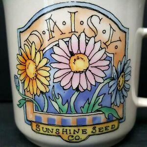 3-Coffee-Cups-Mugs-Daisy-Sunshine-Seed-Co-Vintage-3-inch-10-oz-Garden-Gift-Idea