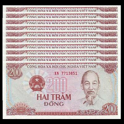 UNC Vietnam Viet Nam 200 Dong 1987 P-100 Lot 10 PCS