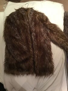 French-Connection-Ladies-Brown-Faux-Fur-Coat-Size-12