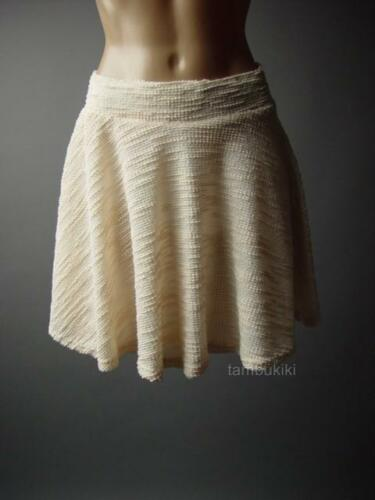 Sale Women Ivory Textured Knit Classic Tea Party Flared Skater 72 mv Skirt S M L