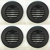 Round Rv Furnace Wall Register Vent - Black - 4 Pack