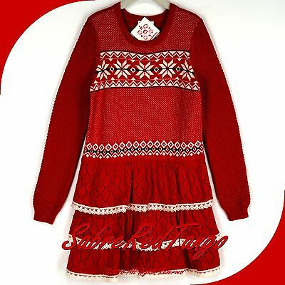 NWT HANNA ANDERSSON LET IT SNÖ NORDIC SWEATER DRESS APPLE RED 100 4T 4
