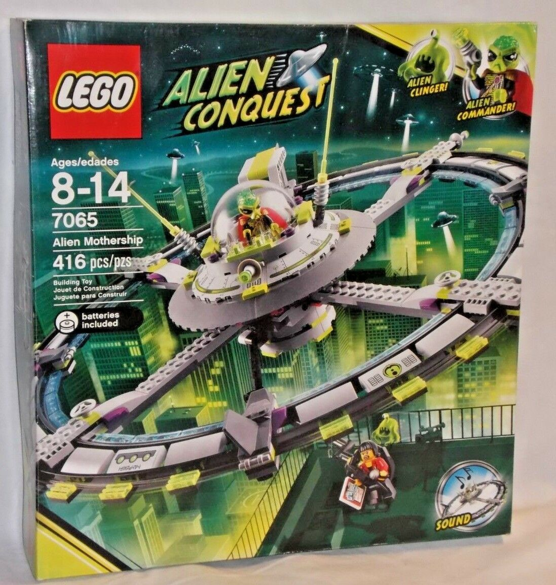 SEALED 7065 LEGO Conquest ALIEN MOTHERSHIP Space Reporter UFO Electronic Sound