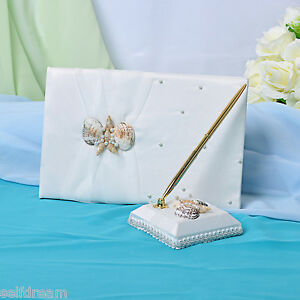 Ivory-Satin-Bow-Guest-Book-and-Pens-GB55b