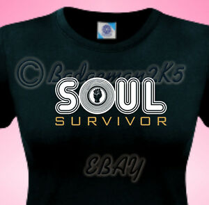 SOUL-SURVIVOR-Northern-Soul-LADIES-T-Shirt-Wigan-Casino-NEW-Fist-DESIGN