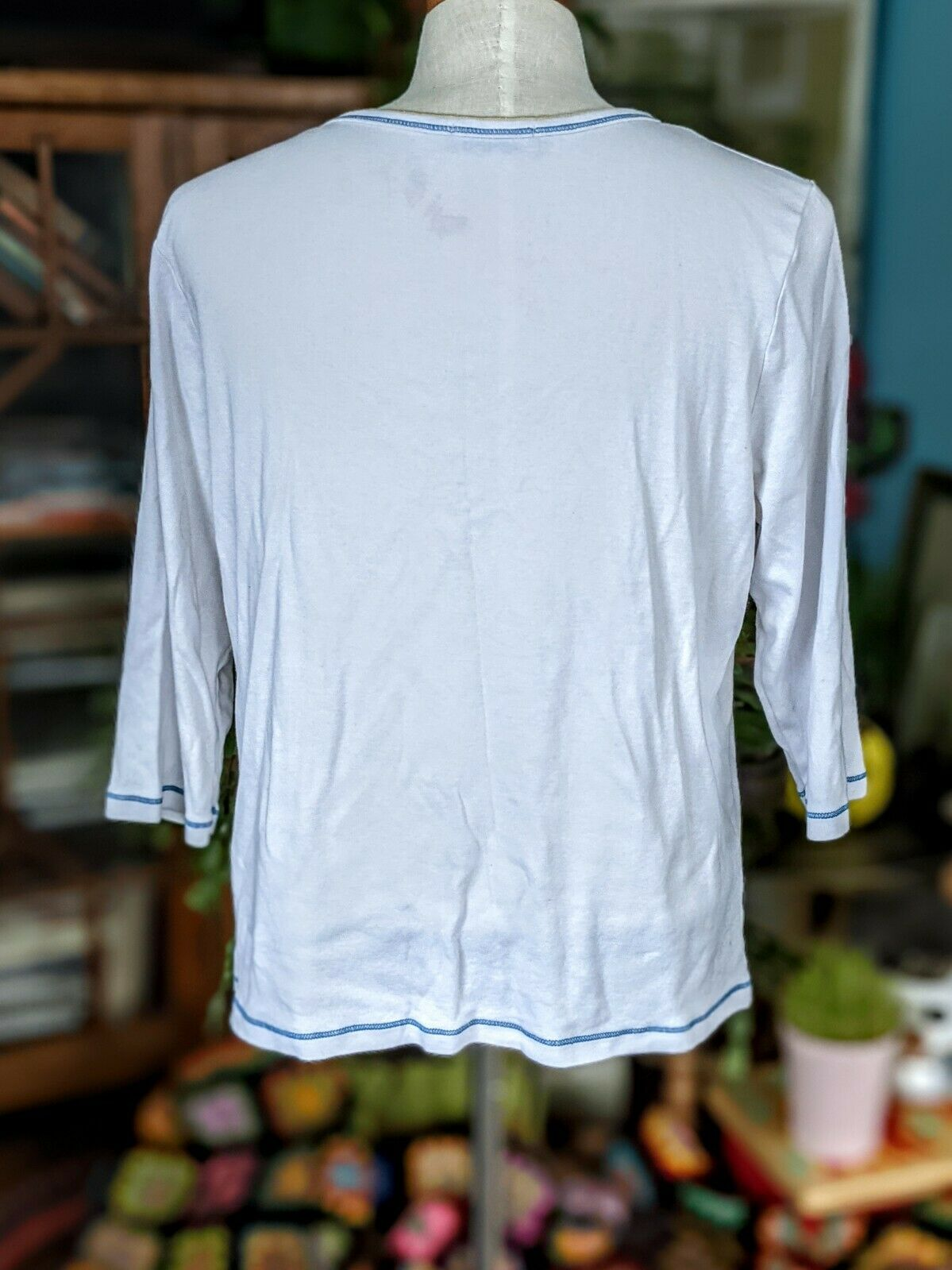 Vintage 1X Blue Canyon 3/4 Sleeve Top Floral Rhin… - image 11