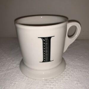 Anthropologie Monogram Letter Initial I Coffee Mug Cup Shaving Style Black Ebay