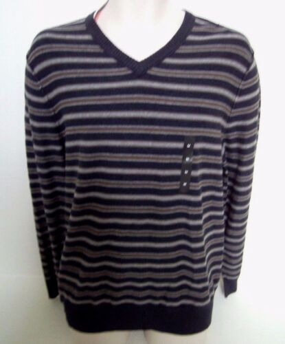 BANANA REPUBLIC Men/'s Navy Blue Striped V-Neck Sweater Size M,L NWT
