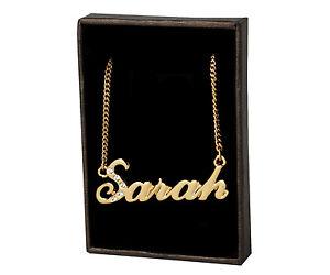 Plaqué Or 18k Collier Prénom Sarah La Saint Valentin