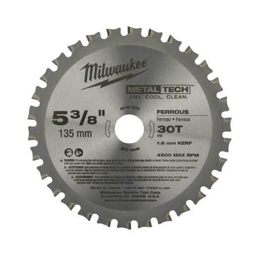 Milwaukee 48-40-4070 Ferrous Metal Blade 5-3 8  30T  135MM 20MM Bore