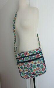 Vera-Bradley-Hipster-Cuban-Stamps-Crossbody-Handbag-Messenger-Bag-Purse-EUC