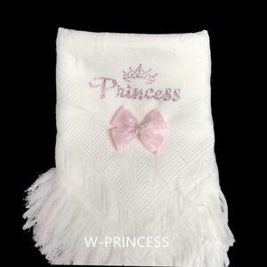 Kuscheldecken Bettausstattung Wunderschön Baby Mädchen Gestrickt Schal Mit Diamanten Prinzessin/abnehmbar