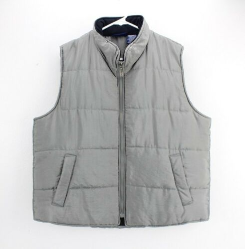 Catalina Zip Puffer Vest Gray Water Resistant Fish