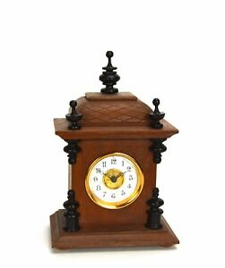 Miniature-German-Style-Carved-3-Finial-Bracket-Clock-with-Porcelain-Dial