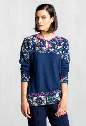 blau navi marine 72538 IVKO Merino Wolle Tunika wool dress Intarsia Pattern