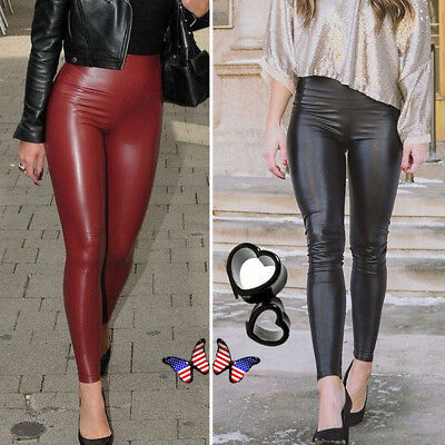 Women/'s PU Leather Pants Stretchy Push Up Pencil Skinny Tight Leggings Black US
