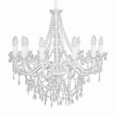 LANDHAUS großer Kronleuchter weiß Kristalle Lüster 12-armig H70cm Deckenlampe