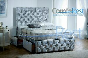 5ef04272c2ac 4' Small Double IBEX PLUS EXTRA , CRUSHED VELVET DIVAN BED + LARGE ...