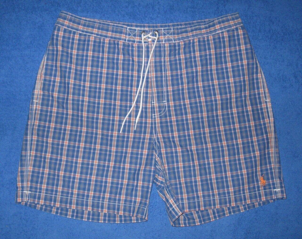 Ralph Lauren bluee Plaid Mens Shorts Trunks Swimsuit XXL