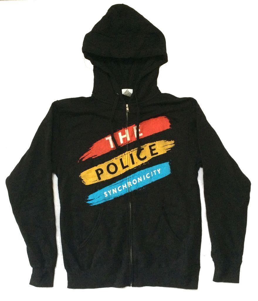 The Police Synchronicity Stripes Black Zip Up Sweatshirt Hoodie New Official