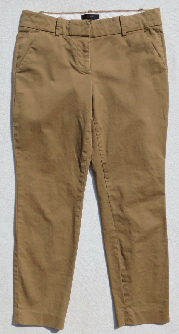 J CREW Women's Camel Stretch Cotton CAFÉ CAPRI Cropped Pants size 0 2 XS EUC