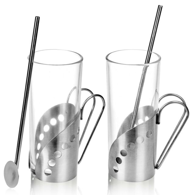 2 4 6 Latte Coffee Tea Glass Cups Hot Drink Mugs With Spoon Straw Metal Handle