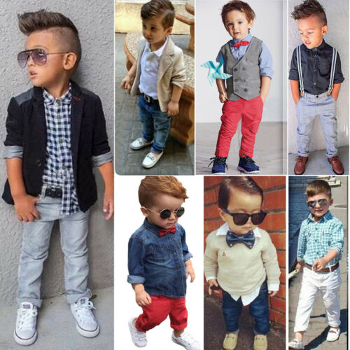 Kids Baby Boys Gentleman Outfit Set Shirt Top Jacket Pants Wedding Party Clothes