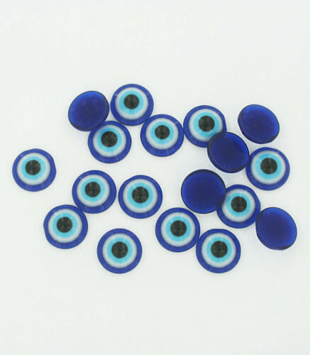 Z036 NEW2 25 Evil Eye Charms Shades of Blue Resin Cabochon Dome 12mm