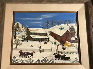 Superb-Large-Kathryn-Kinsey-Rank-034-Winter-Scene-034-Oil-Painting-Signed-And-Framed