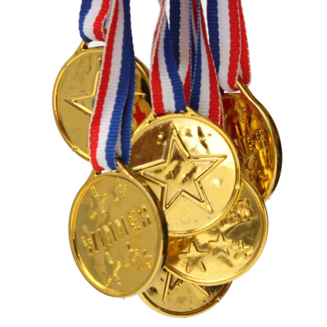 Lot Plastic Gold Medals Winners Sports Party Prize Children Kids Awards Toys