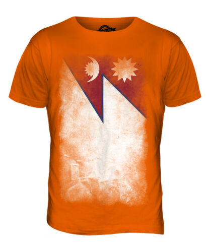 NEPAL FADED FLAG MENS T-SHIRT TEE TOP NEP?LA NEPALI NEPALESE SHIRT FOOTBALL