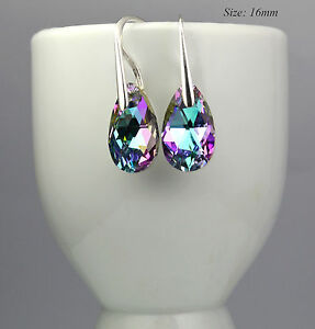 925-Sterling-Silver-Hook-Earrings-16mm-Pear-Almond-Crystals-from-Swarovski