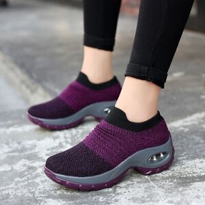 Women-Fashion-Air-Cushion-Sneakers-Breathable-Mesh-Walking-Slip-On-Running-Shoes