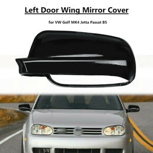Espejo-De-Ala-Izquierda-Puerta-Negro-Brillante-Cubierta-Tapa-Para-VW-Golf-Jetta-Passat-B5-Polo-Mk4