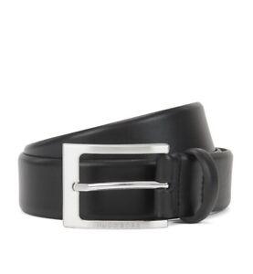 Hugo Boss Barnabie Black Leather belt with brushed-silver pin Buckle ... 28fec390830