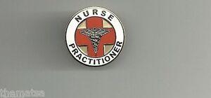 NP NURSE PRACTITIONER  GOLD CADUCEUS RED MEDICAL BADGE PIN