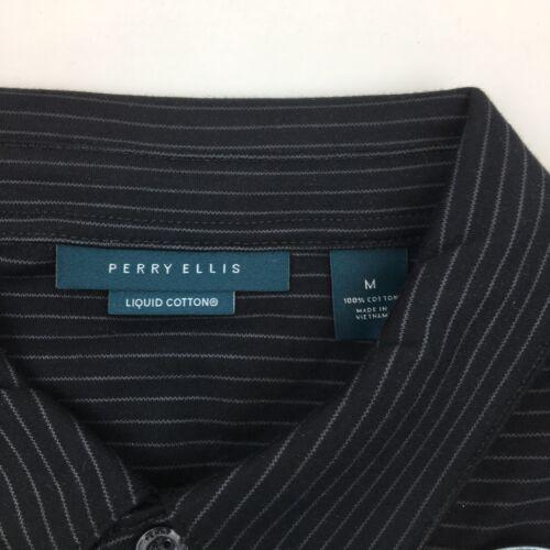 Nouveau Perry Ellis Polo Shirt à manches courtes en coton doux rayé pour homme Bleu Noir