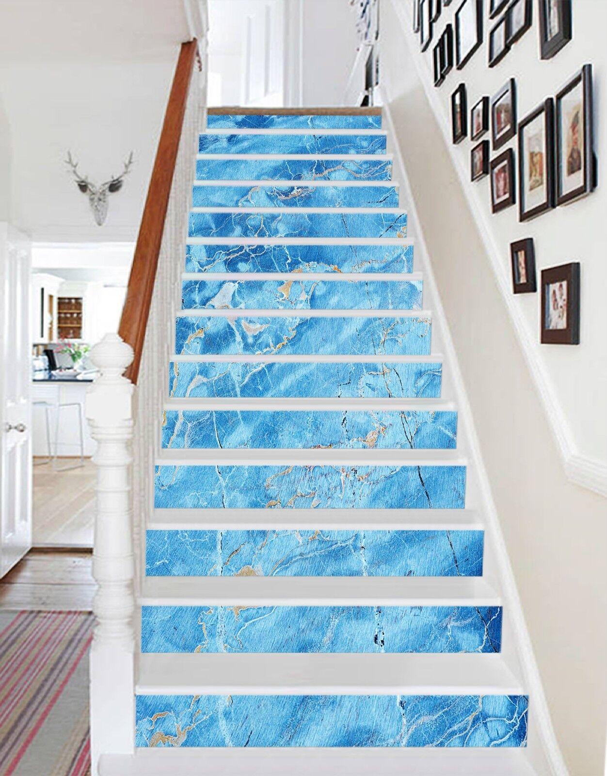 3D blue Riss 82 Fliese Marmor Stair Risers Fototapete Vinyl Aufkleber Tapete