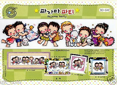 """Pajama party"" counted cross stitch pattern leaflet. Big Chart. SODA SO-G42"