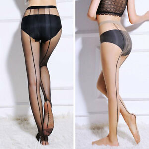 794a6d9bfcb Image is loading Sexy-Women-Sheer-Transparent-Line-Back-Seam-Tights-