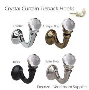 10 x Crystal /& Chrome Tie Back Hooks Curtain Fabric