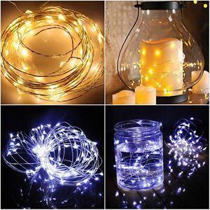 Green Wire Christmas Lights Mini Light String Lighting Holiday 50 Bulb 15' NIB