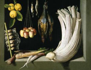 Oil painting Juan Sanchez Cotan - still life vegetables fruit birds no framed