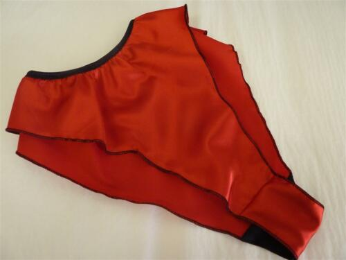RED shiny SATIN panties FRILLY fluted knickers 6 sizes new  Made in France