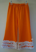 Brand In Bag Lolly Wolly Doodle Orange/white Ruffle Pants Girl's 4 Cute