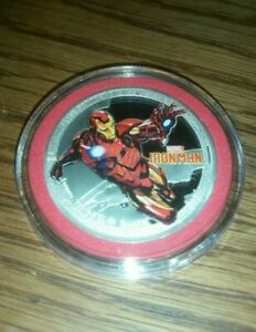 AVENGERS-IRONMAN-SILVER-PLATED-COMMEMORATIVE-COIN-40mm-MINT-BRAND-NEW