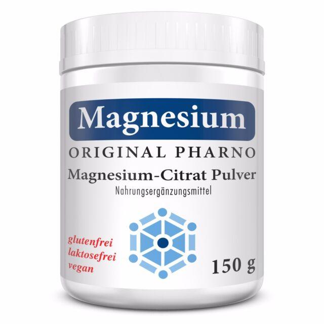 Magnesium-Citrat Pulver - 100% Magnesiumcitrat - Ohne Zusätze - 1 Dose   1x 150g