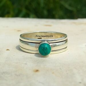 Turquoise-Ring-925-Sterling-Silver-Spinner-Ring-Meditation-Statement-Jewelry-A48