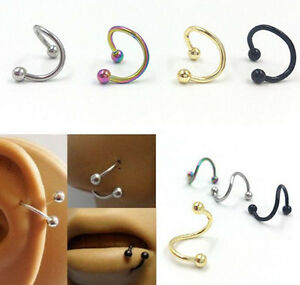 1 Pair Stainless Steel Spiral Helix Ear Stud Lip Nose Ring Body Piercing Jewelry