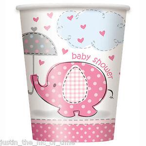 BABY-SHOWER-UMBRELLAPHANTS-ROSA-BIMBA-FESTA-Stoviglie-Tazza-9oz-Bicchieri-di-carta-x8